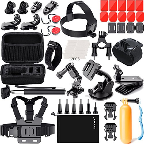 ZOOKKI 41-in-1 Action Camera Accessories Kit for GoPro Hero 7 6 5 4 3+ 3, Black/Silver/Session/SJ4000/SJ5000/SJ6000 for DBPOWER AKASO VicTsing WiMiUS Rollei QUMOX Lightdow CamparK Sony Sports DV