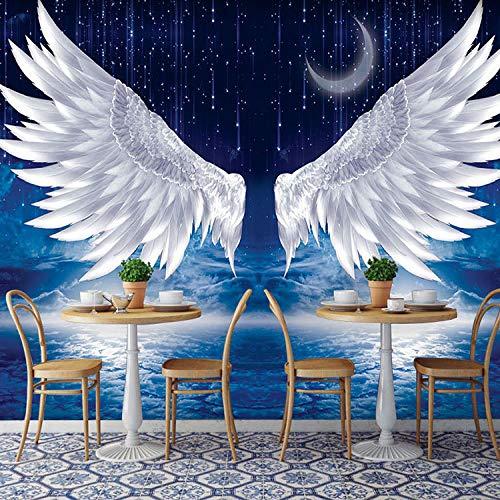 Kleding Winkel Wallpaper_Europese Witte Veer Engel Vleugels Behang Sterren Achtergrond Muur Schilderen Net Rood Tattoo Kleding St 3D Wallpapers Behang Plakken Woonkamer Plakken De Muur 430cm×300cm