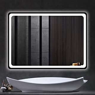 "Beauty4U Bathroom LED Rectangle Mirror 32"" x 24"" Backlit Vanity Horizontally Vertically Mirror Wall-Mounted Explosion-Proof for Make-up Wall Décor"