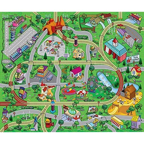 """Large """"My Town"""" Play Mat with Airport, Town, Train Tracks and Roads"""