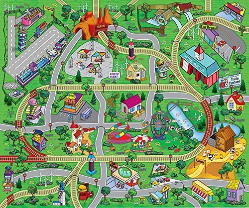 Large 'My Town' Play Mat with Airport, Town, Train Tracks and Roads