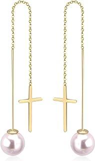 LUXU kisskids Stainless Steel Pearl Dangle Cross Threader Earrings for Women Girls Gold