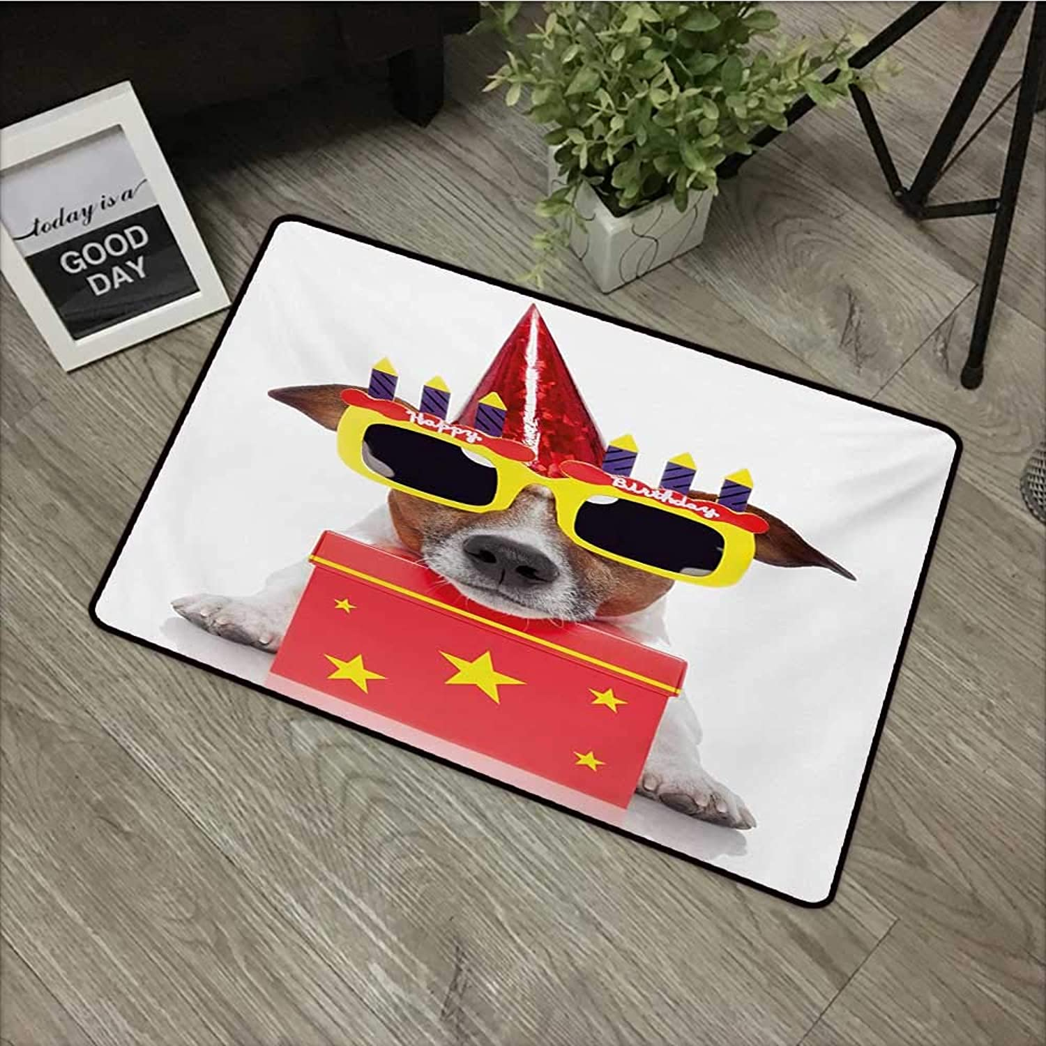 Interior Door mat W35 x L59 INCH Kids Birthday,Happy Party Dog with Sunglasses and Cone Hat Boxes Stars Image Print,Red and Yellow Easy to Clean, no Deformation, no Fading Non-Slip Door Mat Carpet
