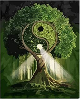 Fairylove Tai Chi Yin Yang Gossip Trees Unframed DIY Oil Painting Paint by Numbers for Adults Kids Beginners Drawing with Propylene On Pre-Printed Canvas