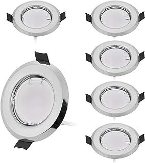 LED Einbaustrahler WEIß 55mm Bohrung Einbaurahmen Einbauleuchte Einbauring 78mmØ