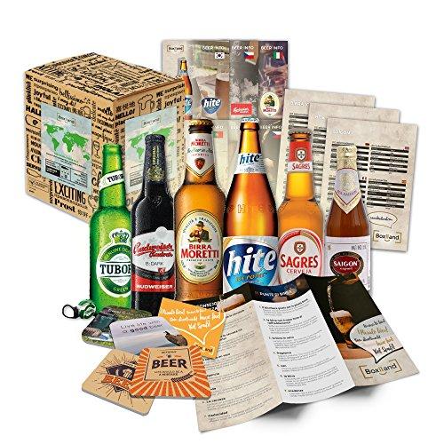 ''Biere del mondo confezione regalo + + informazioni + + birra coperchio. Birra regalo per uomini/compleanno/Natale ecc. la idea regalo perfetta per gli uomini