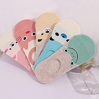 Heaviesk Dibujos Animados Mujeres Niñas Calcetines Tobilleros Calcetines tripulados Calcetines Invisibles Verano Algodón Transpirable Calcetines de Corte bajo para niños pequeños