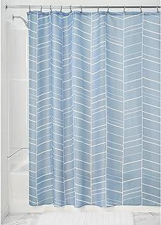 "iDesign Kylie Soft Fabric Shower Curtain - 72"" x 72"", Slate Blue"