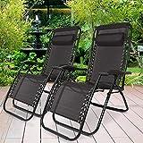 C&S Set of Two Zero Gravity Reclining Sun Loungers In Black | Garden Patio Foldable Reclining Chairs | Heavy Duty Design