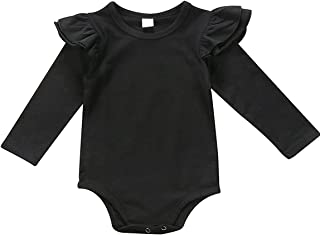GSHOOTS Baby Girls' Clothes Long Butterfly Sleeve Ruffled Bodysuit Fly Sleeve Romper (80 / 6-12 Months, Solid Black)