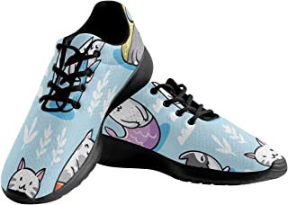 INTERESTPRINT The Cats Mermaid Under Water Women's Walking Shoes Lightweight Lace-up Athletic Sneakers US10.5