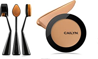 (Rosso-3) - Bundle 2 Items: Cailyn O Wow Brush +HD Super Pro Coverage Matte Finish Foundation Light Weight (Rosso-3)
