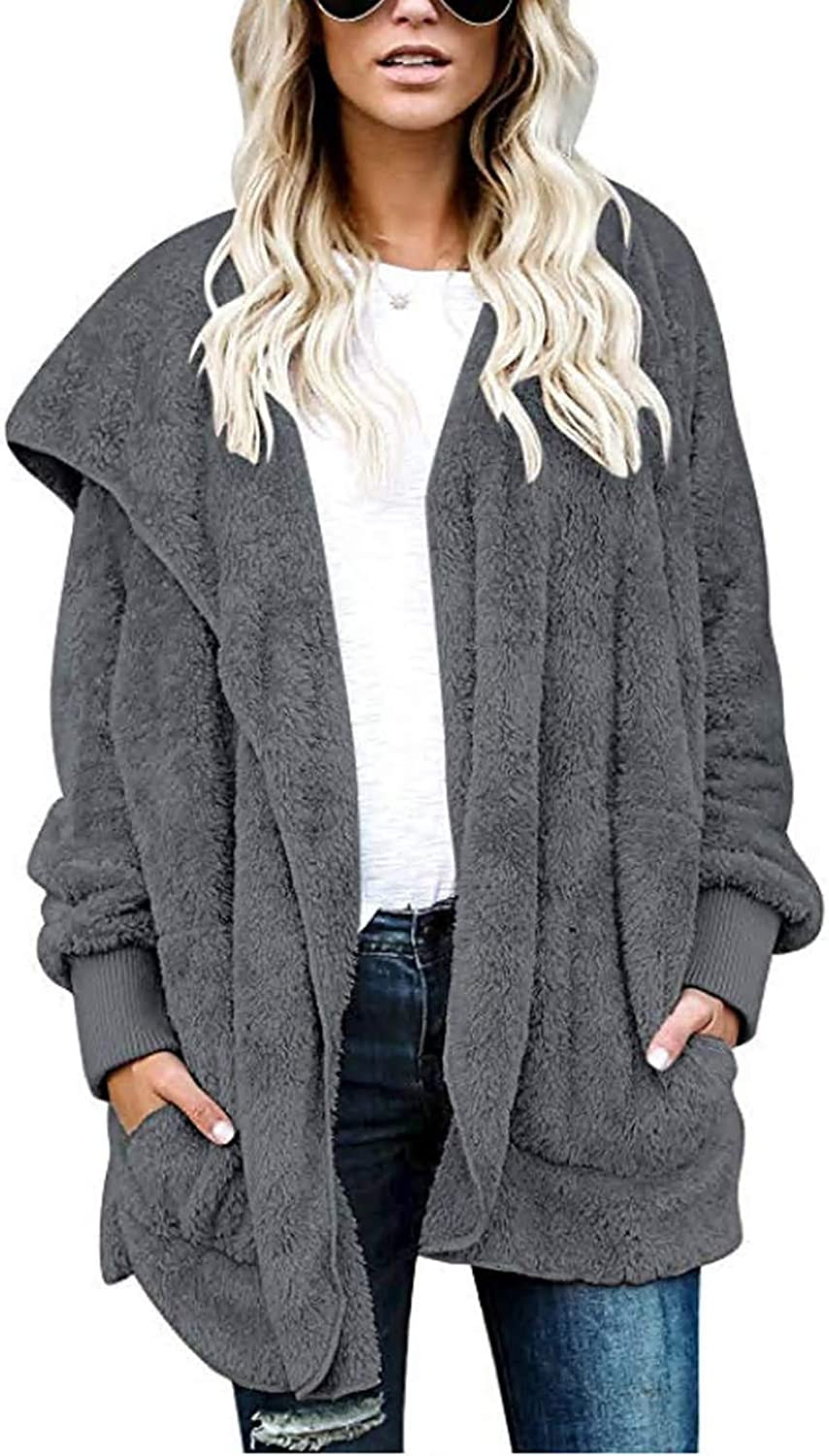 WDAmour Womens Furry Open Front Hooded Cardigan Jacket Coat Outwear with Pocket