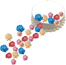 GEORLD 48pcs Edible Flowers Cupcake Toppers Wedding Cake Party Food Decoration Mixed Size & Colour