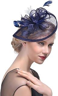 Junlinto Mujeres Wedding Hat Fascinator Feather Mesh Party Cocktail Tocado Pinza de Pelo Azul Marino