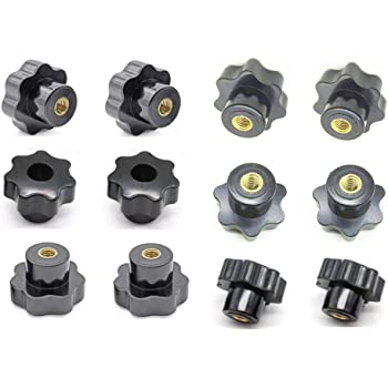 Aexit M8 Female Knobs /& Hand Wheels Thread Rotating Adjustable T Clamping Handle Screw Knobs Star Knobs Black 2pcs