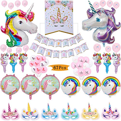 Geenber Decoracin para fiestas de unicornio, 1 pancarta de cumpleaos, 2 globos de unicornio enormes, 12 mscaras de papel de unicornio, 12 globos de unicornio de aluminio y 40 globos