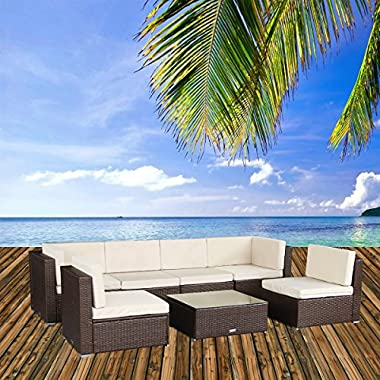 U-MAX 7 Pieces Patio PE Rattan Wicker Sofa Sectional Furniture Set Conversation Sets