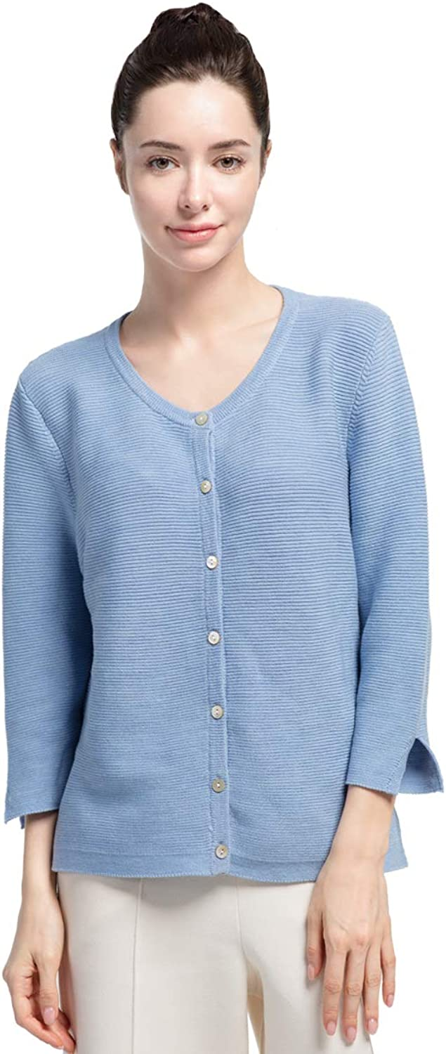 Cas Lady Women's 100% Wool CrewNeck Sweater with Button Front Long Sleeve