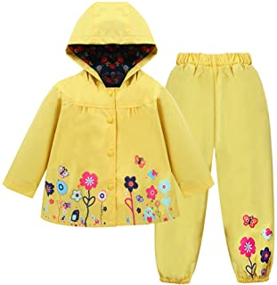 LZH Toddler Girls Raincoat Waterproof Coat Jacket Pants Suit with Hooded