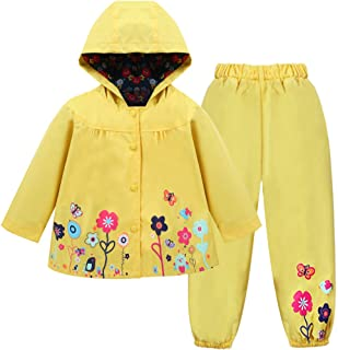 LZH Toddler Girls Raincoat Waterproof Rain Jacket Pants Suit with Hooded