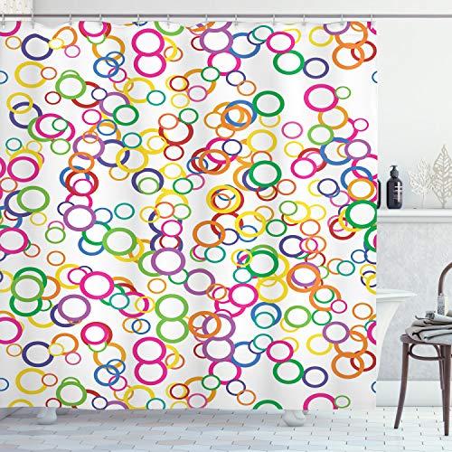 ABAKUHAUS Sommer Duschvorhang, Farbiger geometrischer Kreis, mit 12 Ringe Set Wasserdicht Stielvoll Modern Farbfest & Schimmel Resistent, 175x240 cm, Lavendel Lachs Gelb Rosa