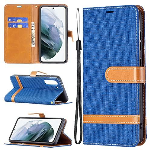 HSRWGD Galaxy S21 FE Wallet Case para Samsung S21 FE 5G Flip Cases, Anti resistente Bumper Cover Soft TPU Protective Skin (azul)