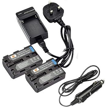 DCR-DVD602 2 Pcs Battery and Dual Battery USB Charger for Sony DCR-DVD505 DCR-DVD602E Handycam Camcorder DCR-DVD505E