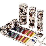 TWIKIK Colored Pencils Case Wrap Roll Holder Sturdy Canvas Elastic Loops Pencil Case Storage Pouch Organizer