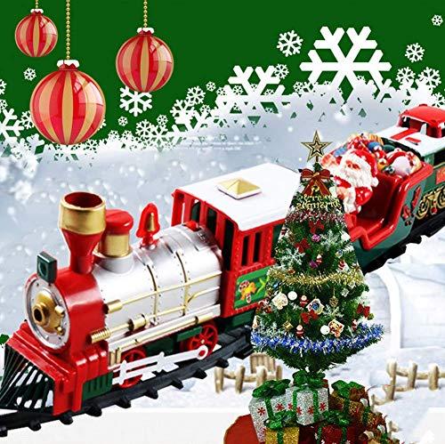Ototon DIY - 14 trenino elettrico per Natale, albero giocattolo con luci suoni realistici, decorazione natalizia per bambini, regalo di compleanno