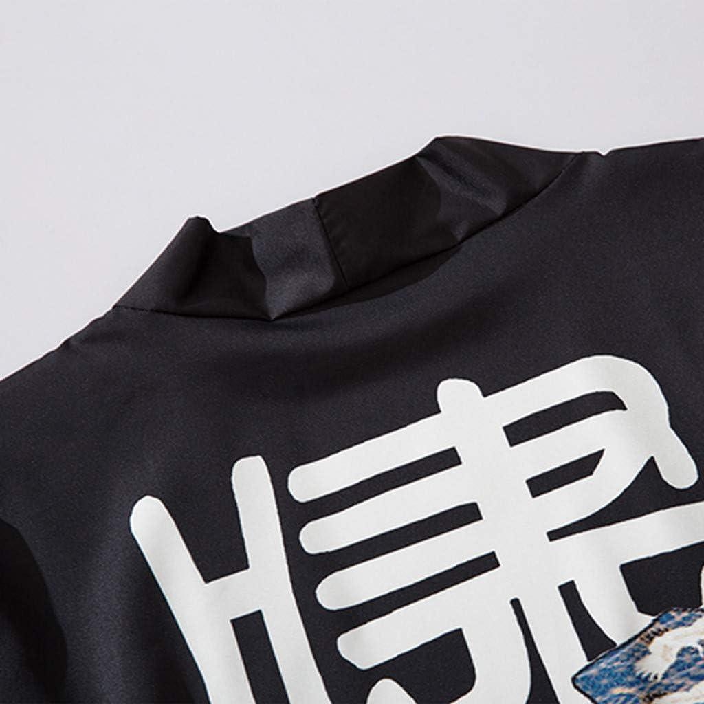 F/_Gotal Mens Retro Kimono Shawl Collar Cardigan Long Kimono Jackets Open Front Drape Cape Coat Mens Kimono Cardigan