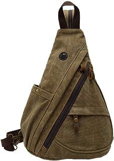 MANNUOSI Hombre Bandolera Lona Bolso Bolso de Hombro Lona Vintage Bolso de Bandolera Casual Bolsa de Pecho para Hombre marrón