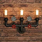 RUNNUP Vintage Pipe Applique Murale Applique Murale Luminaire Industriel E27 socket 3 Lumières pour Maison Loft Hall d'entrée salon Bar Restaurants Coffee Shop Club Décoration