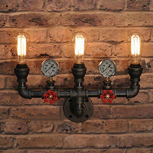 Preisvergleich Produktbild RUNNUP Industrielle Vintage Wandlampe Wandleuchte Rohr Leuchte E27 Sockel für Wohnzimmer Schlafzimmer Restaurant Café Loft Diele Keller Untergeschoss Dekoration (Keine Leuchtmittel)