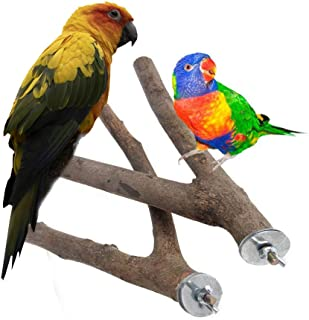 NEWCOMDIGI 2 Pack Bird Branches Perch Natural Wooden Fork Parrot cage Stands Toys for Budgies, Conures, Caciques, Cockatie...