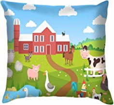 X-Large Farm Animals Landscape Horse Pig Duck Wildlife Throw Pillows Covers Accent Home Sofa Cushion Cover Pillowcase Gift Decorative 12X12 Inch