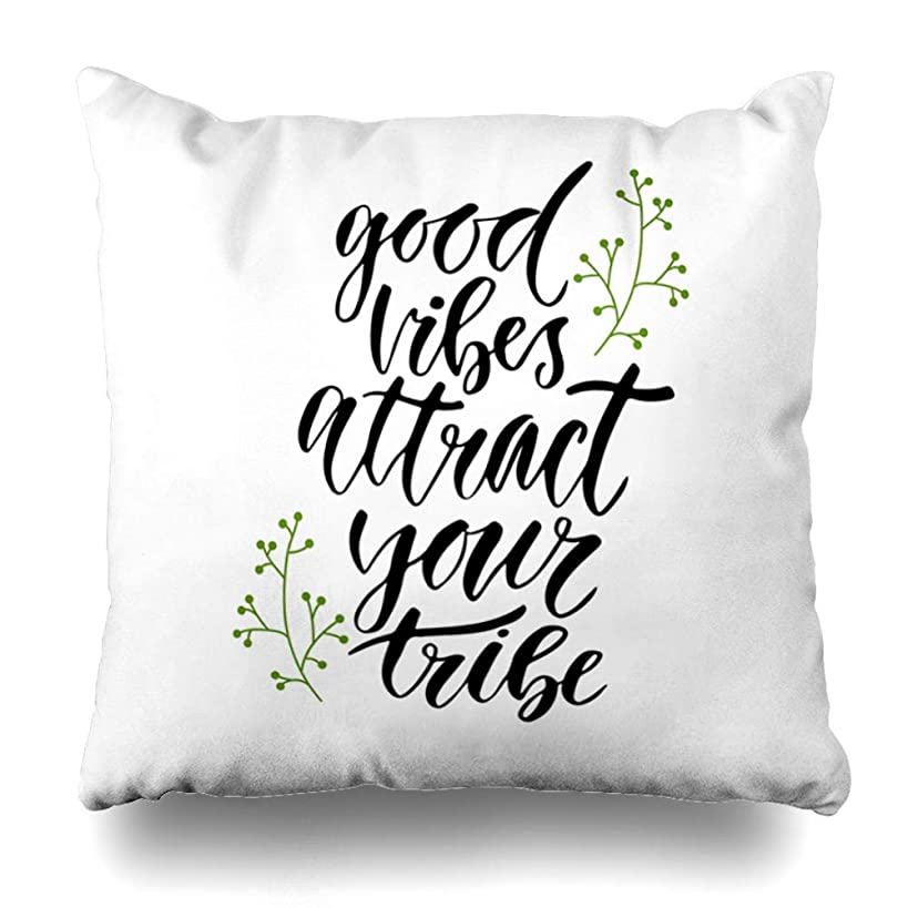 Ahawoso Throw Pillow Cover Square 16x16 Inches Inspiratispirational Artistic Good Vibes Attract Your Tribe Text Inspirational Black Blogging Cushion Case Home Decor Pillowcase