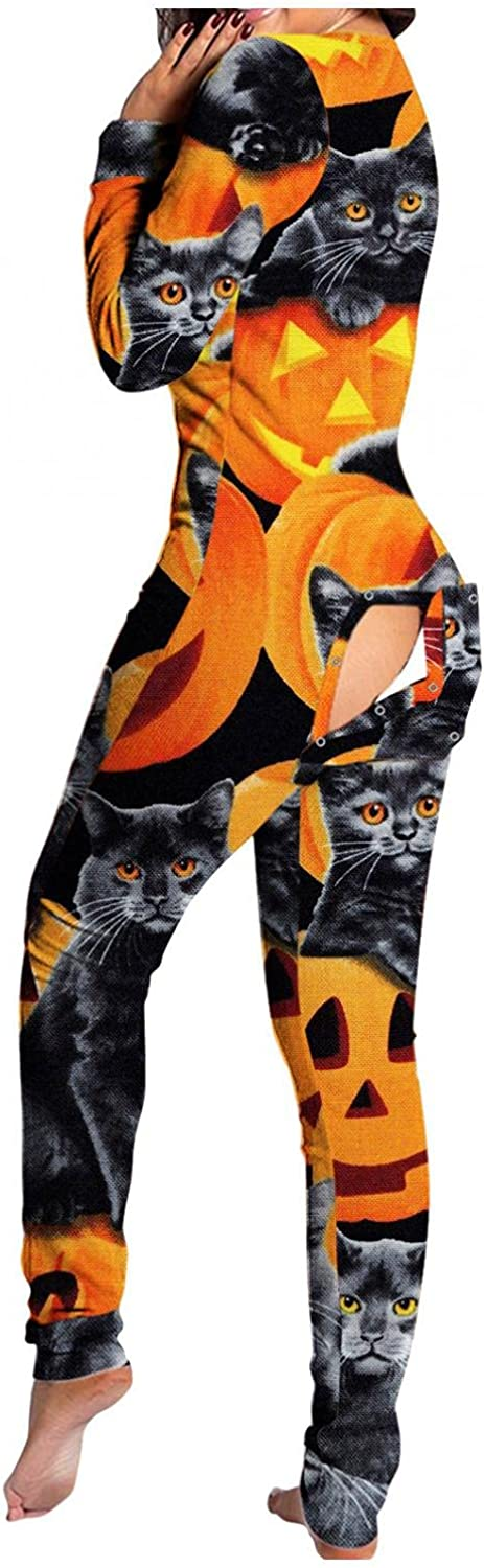 AODONG Halloween Pajamas for Women,V Neck Button-Down Front Jumpsuit Functional Butt Buttoned Flap Lingeire Rompers Sleepwear