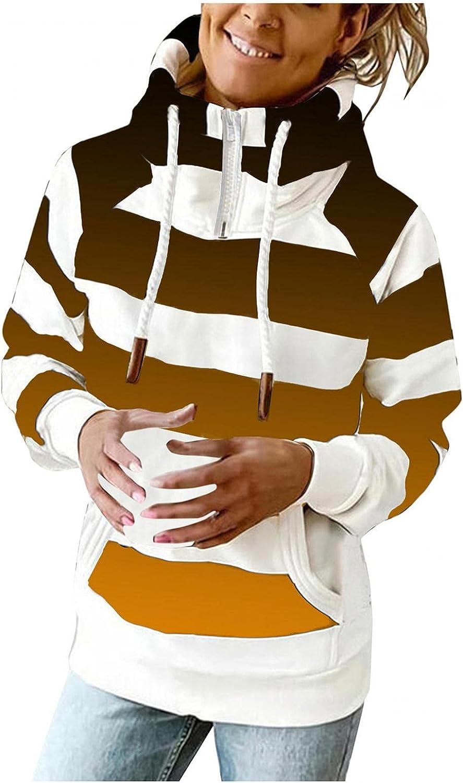 UOCUFY Hoodies for Women Zip Up,Womens Casual Lightweight Sweatshirts 1/4 Zipper Long Sleeve Striped Pullover Hoodies