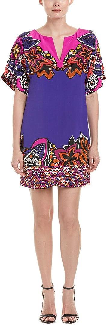 Trina Turk Women's Carnival Short Sleeve Silk Dress