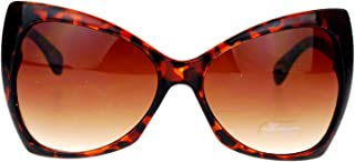 Unique Oversized Cat Eye Hybrid Butterfly Sunglasses Brown