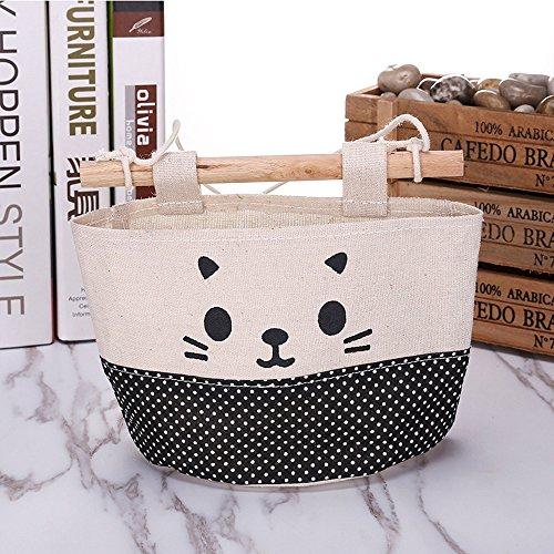 Berrose-Neue Baumwolle Cartoon Katze Hängende Aufbewahrungstasche Trümmertasche Wand Kombination Mehrschichtiges Gewebe Kleiderschrank Tasche -Süße Muster hängende Wall Pouch Fashion