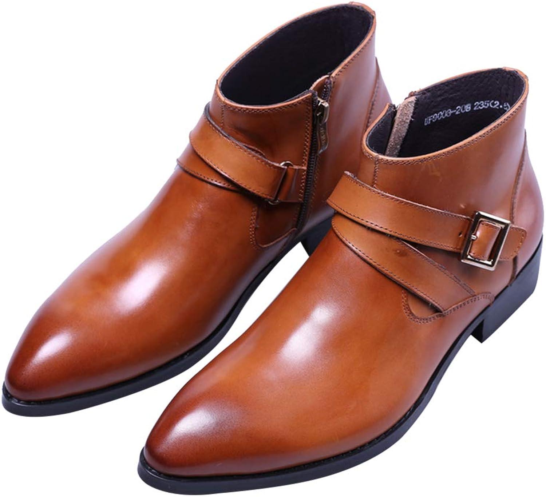 Santimon Boots for Mens Dress Leather Double Monk Strap shoes