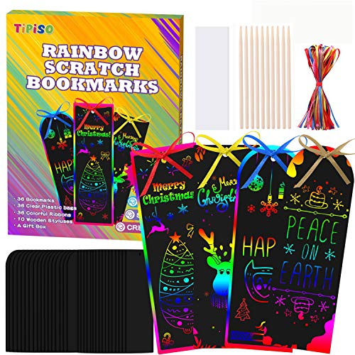 TIPISO Scratch Bookmarks Art Gift Set - 36 PCS Magic Rainbow Scratch Painting Bookmarks, DIY Hang Tags Party Theme Supplies Decorations Crafts for Kids Christmas Birthday Game, Easter Classroom Party