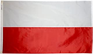Annin Flagmakers Model 196825 Poland Flag 3x5 ft. Nylon SolarGuard Nyl-Glo 100% Made in USA to Official United Nations Design Specifications.