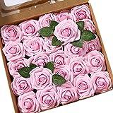 Msrlassn Flores Rosas Artificiales Espuma Rosa Falsa para Manualidades, Ramos de Novia, centros de Mesa, Despedidas de Soltera y Decoración del Hogar (Rosa Brillante, 25 Piezas)