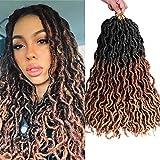 6 piezas Extensiones de cabello de diosa trenzada sintética trenzada del pelo del ganchillo de faux locs con extremos rizados (T1B/30/27)