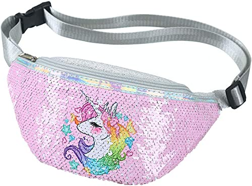 Girl S Unicorn Fanny Polyester Pack Cute Kids Travel Waist Crossbody Belt Bag Sport Running Camping Trip Christmas Pink