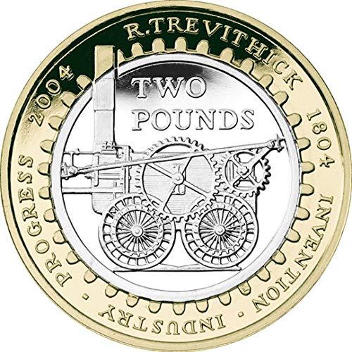 UK 2004 - Richard Trevithick, Inventor de la primera locomotora de vapor brillante sin circular £2 moneda con soporte para monedas cápsula