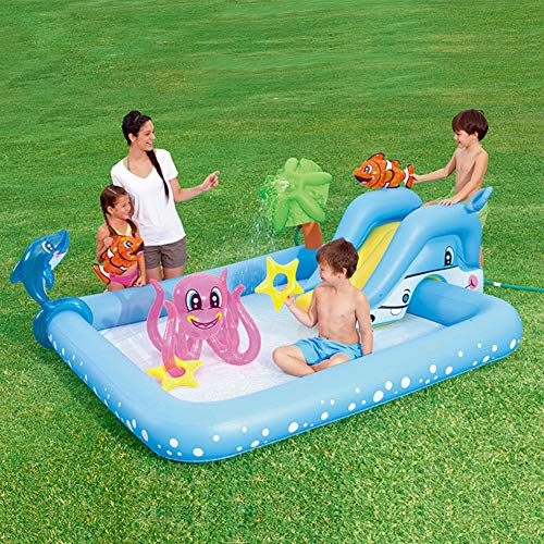 CBA BING Piscina Hinchable Infantil Tobogan Actividad De Piscinas para Niños Gruesos Centro De Natación Piscina Inflable para Jardín De Verano,94x81x34Inch